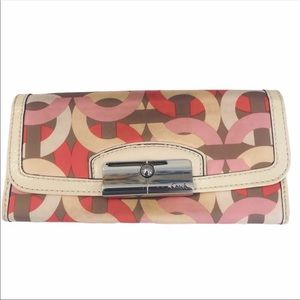 Coach Kristin Chain link Wallet ivory leather trim